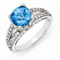 Sterling Silver Checker-cut Glass Simulated Blue Topaz & CZ Ring