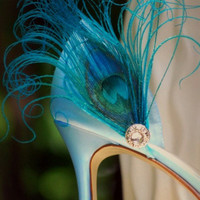 Something Blue Shoe Clips. Turquoise Peacock & Rhinestone, Elegant Big Day, Couture Statement Stunning Boudoir, Bride Bridal Bridesmaid