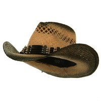 Outback Tea Stained Raffia Straw Hat-Natural Black Band W37S10C