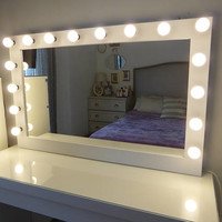 XL Hollywood mirror- 43'' x 27'' - Rose gold vanity mirror with lights-Wall hanging/free standing- BULBS not included