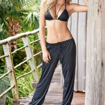 Mapale Relaxing Black Elastic Waist Pants with Jersey Cuffs