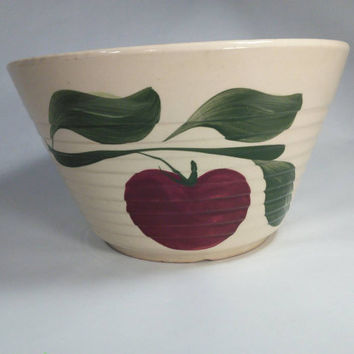 Watt Pottery Apple on Branch With Leaves mixing Bowl #9