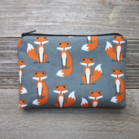 Foxes Coin Purse, Zipper Pouch, Cotton, Padded, 4 x 6 inch ***SHIPS IN 1 DAY!***