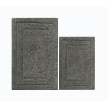 Skid Free 2 Piece Bath Rug Set In Cotton, Gray