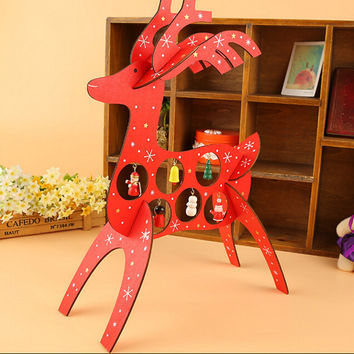 Free Shipping XMAS Gift 1pc mini table Decoration wood Christmas deer with ornament for X'mas, More Than $100 TNT Free Shipping