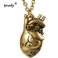 Sunshine anatomical heart pendant necklace Europe fashion 3 colors real heart vintage anatomy heart antique bronze for men women