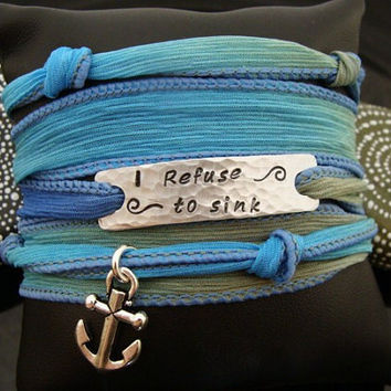 "SALE D2E ""I Refuse To Sink"" silk ribbon yoga wrap bracelet with magnetic clasp and anchor charm"