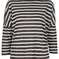 Linen Mix Stripe Tee - Jersey Tops  - Clothing