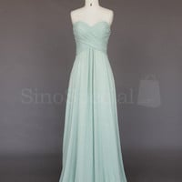 Gracefull Light Green A-line Sweetheart Sweep Train Prom Dress from SinoSpecial