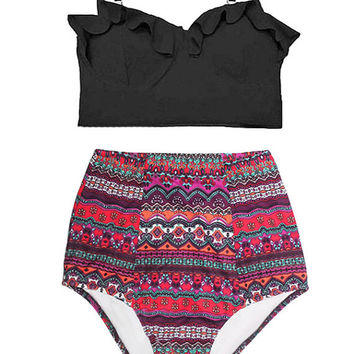 Black Midkini Top and Burgundy Arab Art High Waisted Waist Rise Shorts Bottom Swimsuit Bikini 2pc Swimwear Swim Bathing suit dress wear S M