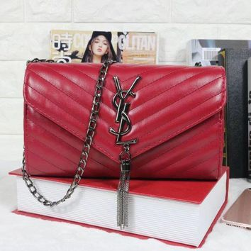 One-nice™ YSL Tassell Women Shopping Leather Metal Chain Crossbody Satchel Shoulder Bag Red I-MYJSY-BB