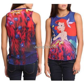 Licensed cool Disney The Little Mermaid ARIEL Under Sea Flowers Sheer Tank Top Tee Shirt S-2X