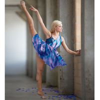 Tie-Dyed Sequin Bodice Unitard Dance Dress; Balera