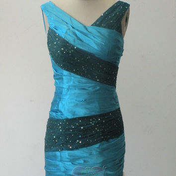 Pretty new style Custom made cheap blue beaded V Neck Bateau knee length short Prom/Evening/Party/Bridesmaid/Cocktail/Homecoming Dress Gown
