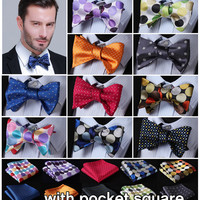 Polka Dot Cotton Blend 100%Silk Woven Men Butterfly Self Bow Tie Pocket Square