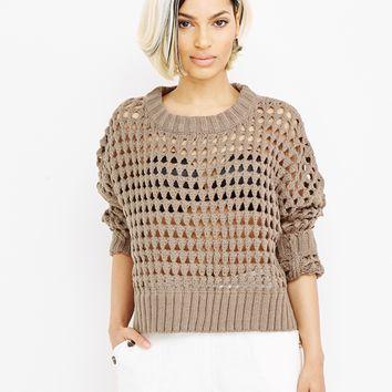BOBBIE CROCHET KNIT SWEATER - TAUPE
