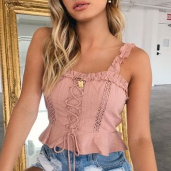 Summer New Fashion Solid Color Lace Straps Top Women Pink