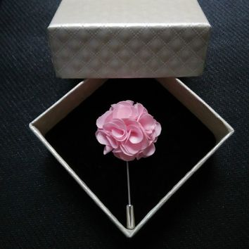 custom lapel flowers stick pins & box set women & men's party favor pink navy black silver fuchsia