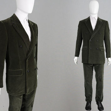 Vintage GIANNI VERSACE Couture Velvet Suit Olive Green Mens 2 Piece Dinner Suit Double Breasted Mens Tuxedo Suit Italian Designer Evening