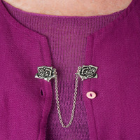 Evelots Vintage Antiqued Silvertone Rose Sweater Clip, Stylish Collar Clip