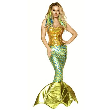 Sexy Gold Burlesque Sequined Mermaid Halloween Costume