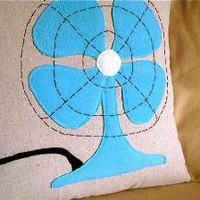 vintage fan pillow cover 18x18 by pillowhappy on Etsy