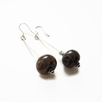 brown jasper earrings, handmade dangle beadwork gemstone earrings of landscape jasp, silver, 925 silver earhooks: Florencejewelshop