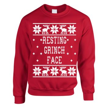 Resting Grinch Face - Ugly Christmas Sweater KU