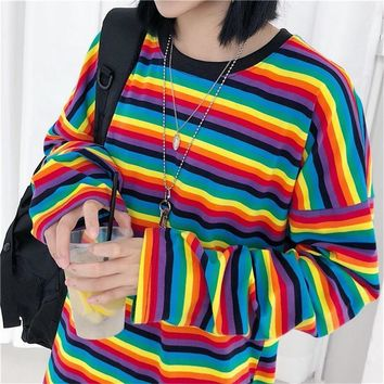 Rainbow Striped Long Sleeve Shirt