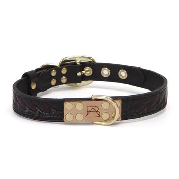 Black Dog Collar with Black Leather + Red Wave Stitching