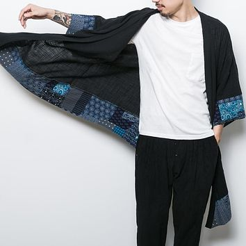 Cotton Linen Chinese Traditional Tang Long Suit Men Coat Geometry Patch Male Outwear Summer Homme Trench Summer Robe hinoise