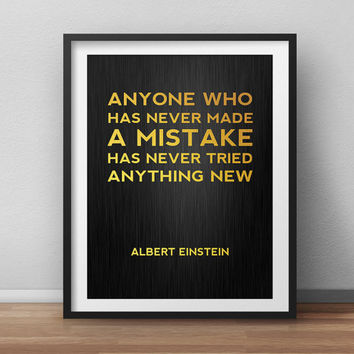 Albert Einstein Print - Make Mistakes - Typographic Quote Print Motivational poster Office Decor Printable Home Decor Faux Gold Print