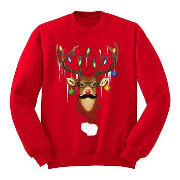 XtraFly Apparel Men's Reindeer Wearing Sweater Moustache Lights Ugly Christmas Pullover Crewneck-Sweatshirt