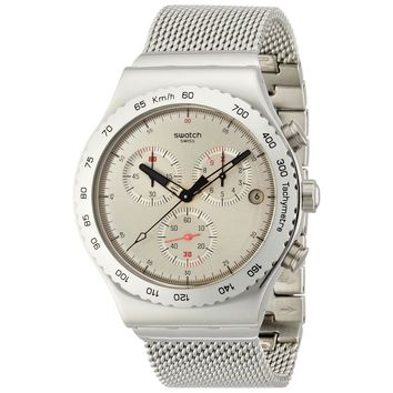 Swatch YVS405G Men's Silverish Irony Chrono Stainless Steel Mesh Bracelet Watch