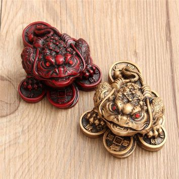 Hot Feng Shui Small Three Legged Money for Frog Fortune Toad Chinese Coin Metal Craft Home Decor Gift Bronze and Mahogany Color