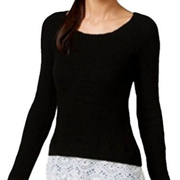 INC Women's Lace Hem Ribbed Knit Scoop Neck Sweater