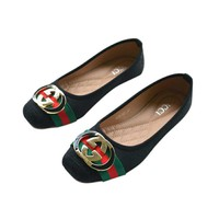 shosouvenir :Gucci Big logo Green Red Stripe Print Flat Shoes Canvas Women Sandals Shoes G-LLBPFSH