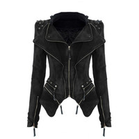 Black Lapel Collar Punk Rivet Studded Shrug Shoulder Coat