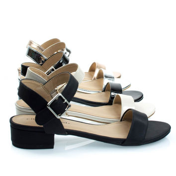 Refine Black Pu By City Classified, Low Chunky Block Heel Sandal, Women's Open Toe Summer Shoes