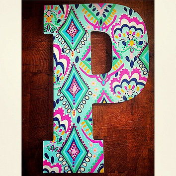 13 custom hand painted wooden letters