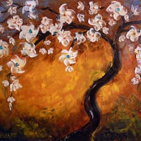 Painting oil painting abstract flowers tree landscape.  Decorative Arts paintings with semiprecious stones, stretched canvas, ready to hang.