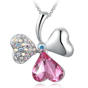 Pink Clover Leaves Love Crystal Heart Pendant Necklace with Swarovski Crystal, 18""