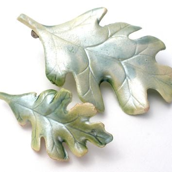 Pair of Porcelain Oak Leaf Brooches Pins