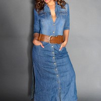 Chic Denim Long Sleeved Buttoned Down Maxi Dress With Side Slits