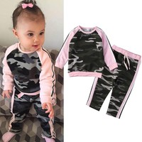 Toddler Camouflage T-shirt Tops Pants 2PCS Outfits
