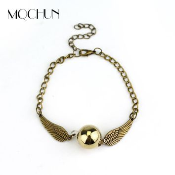 MQCHUN Fashion Harry Quidditch Golden Snitch bracelets for Women and Men Potters Cute Ball Wings Chain Bracelets Nice Gifts