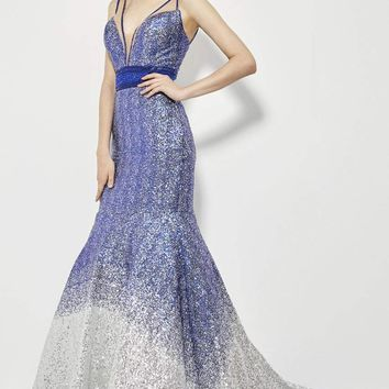 Angela & Alison - 81008 Two-Toned Sequin Ornate Trumpet Gown