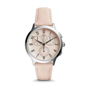 Abilene Chronograph Leather Watch, Blush | FOSSIL