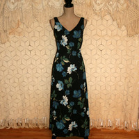 Black Floral Dress Sleeveless Dress Maxi Dress Summer Dress Romantic Floral Grunge Casual Long Dress Low Back Size 4/6 Small Womens Clothing
