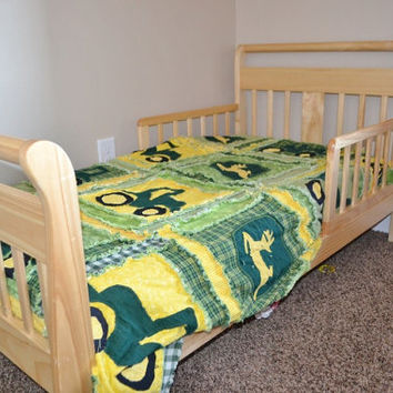 RAG QUILT, Tractor, Toddler Bedding, Baby Blanket, Green, Gold, Made to Order, Custom
